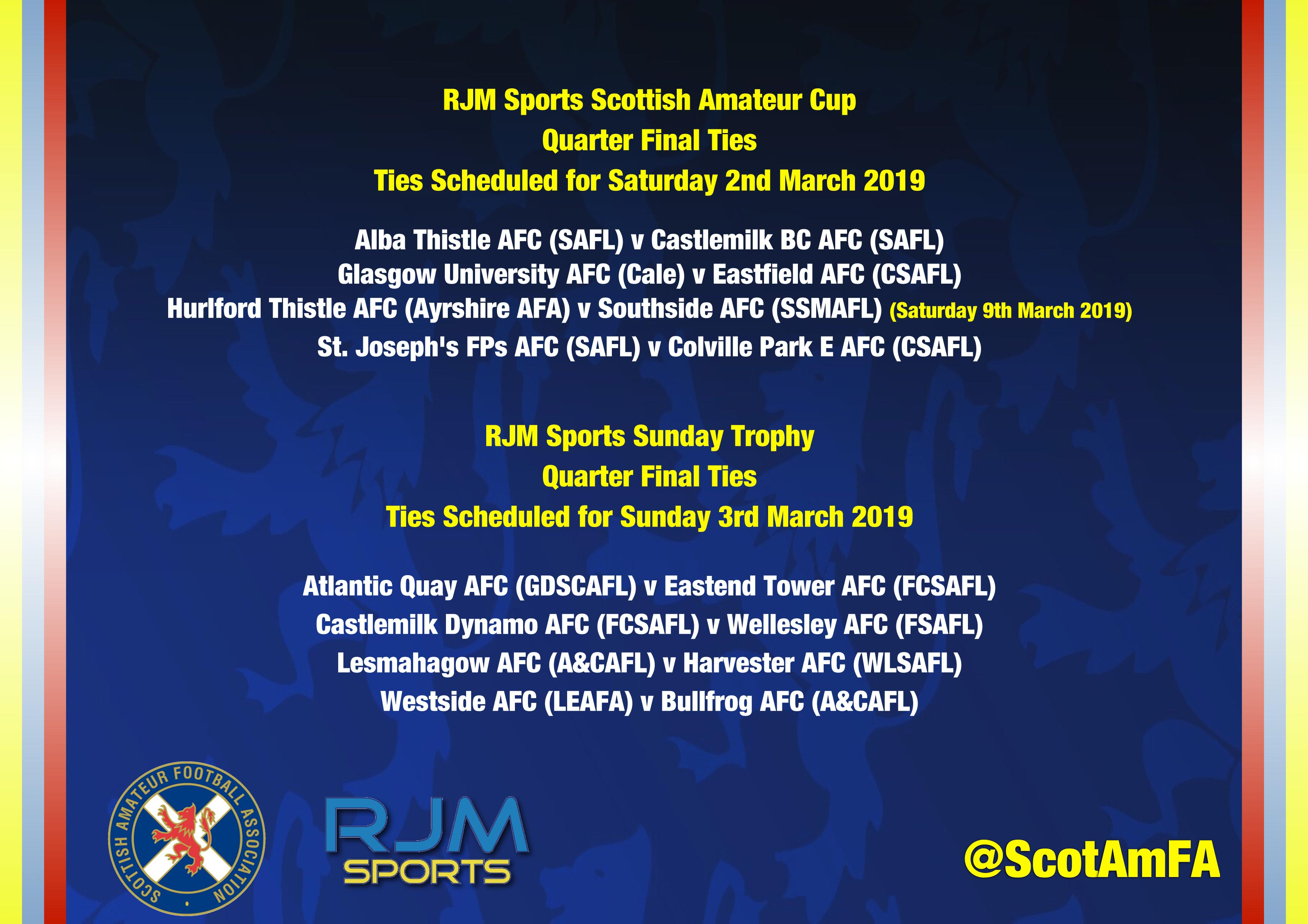 RJM Sports Scottish Amateur Cup & Sunday Trophy Quarter Final Ties